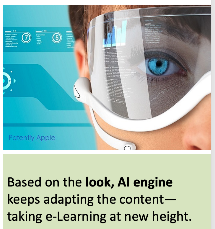 This new technology offers eLearning feature to adapt content in response to learners feedback received through eye ball