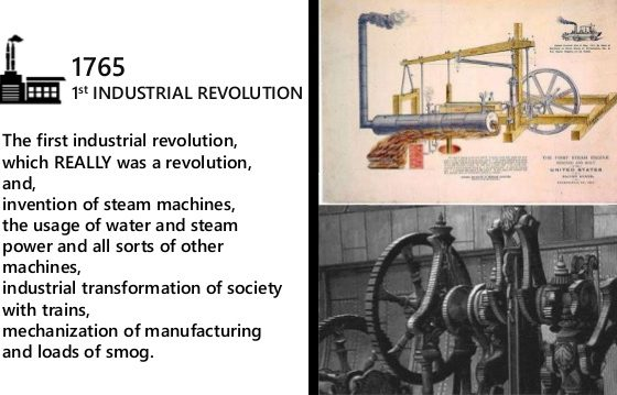 First industrial revolution comprises of a series of creative waves powered by the steam engines which kept unfolding during the period 1760-1870